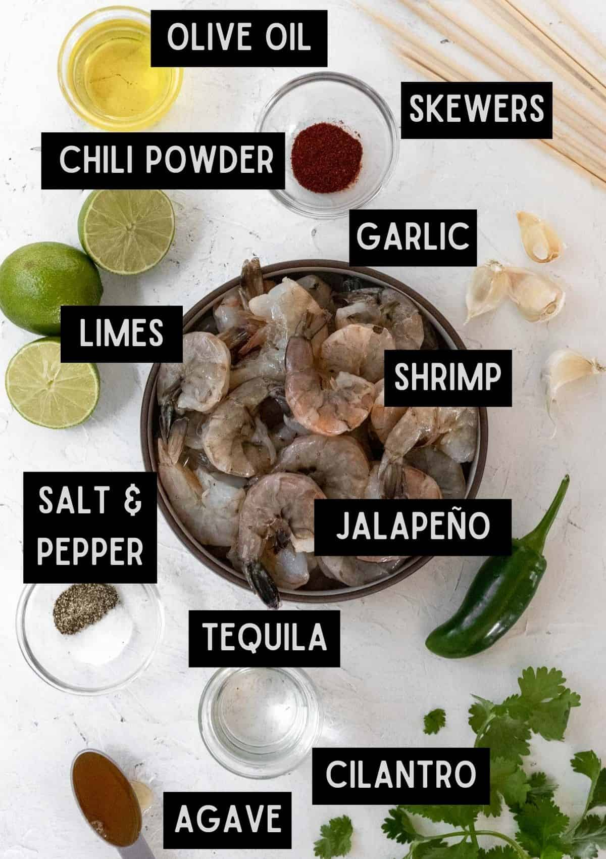 Labelled ingredients for tequila lime grilled shrimp (see recipe for details).