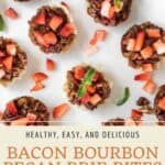 Pin graphic for bacon bourbon brie bites.
