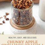 Pin graphic for apple cinnamon granola.