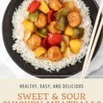 Pin graphic for sweet and sour chicken meatballs.