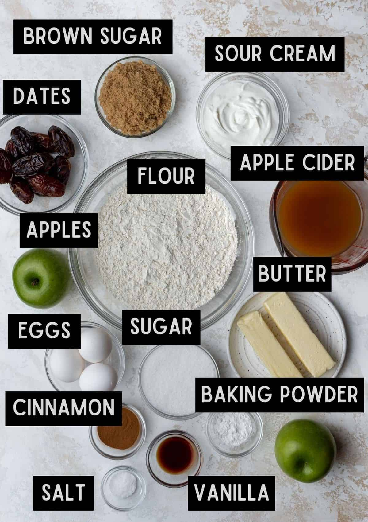 Labelled ingredients for apple cider and date coffee cake (see recipe for details).