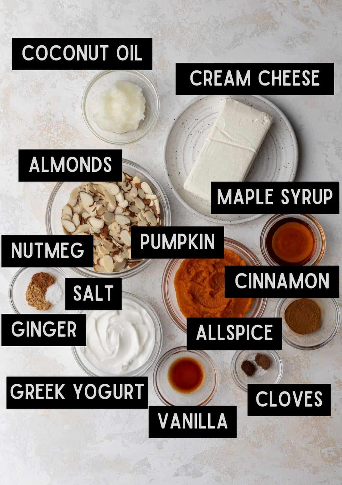Labelled ingredients for no bake pumpkin swirl cheesecake bars (see recipe for details).