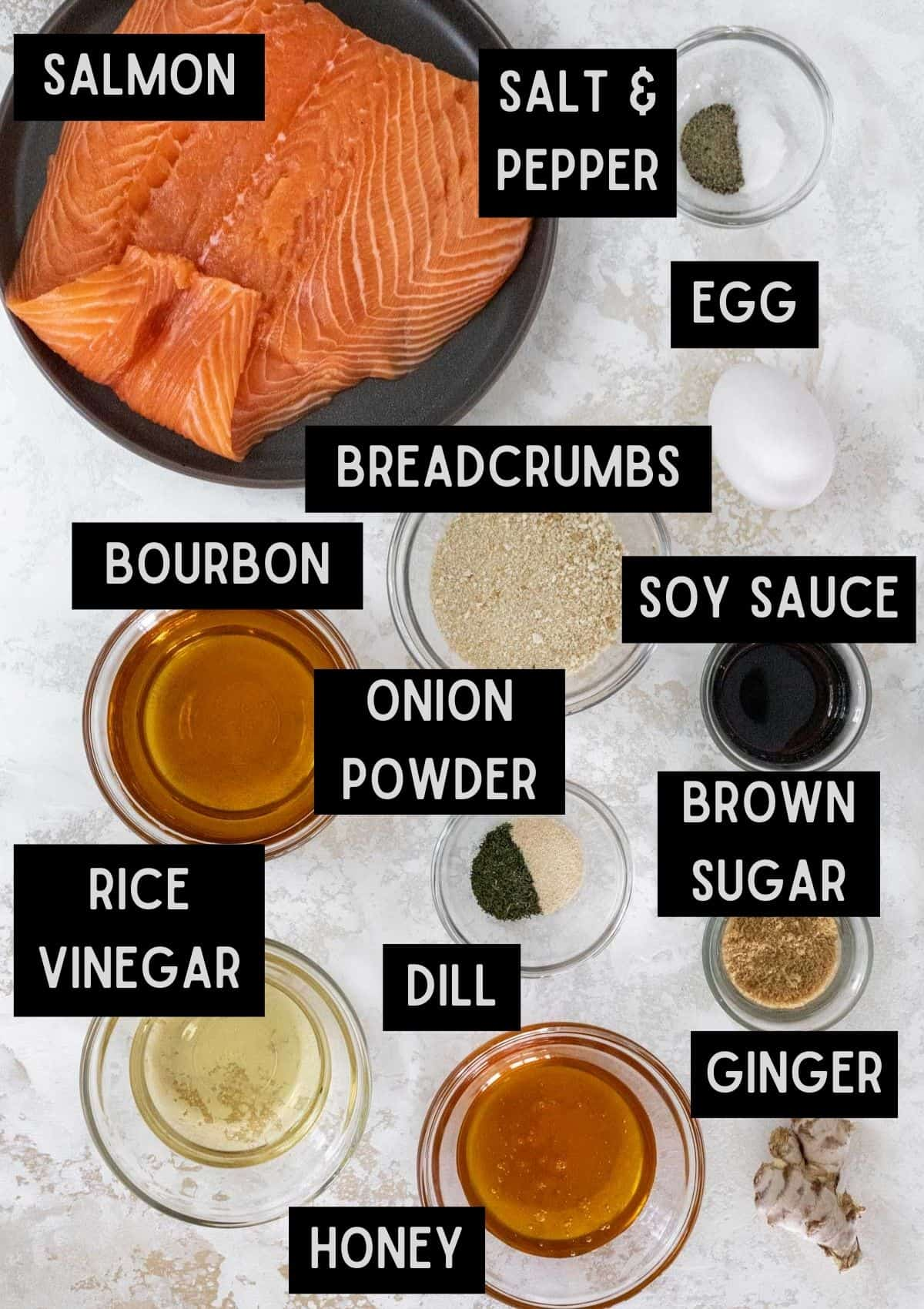 Labelled ingredients for honey bourbon glazed salmon meatballs (see recipe for details).