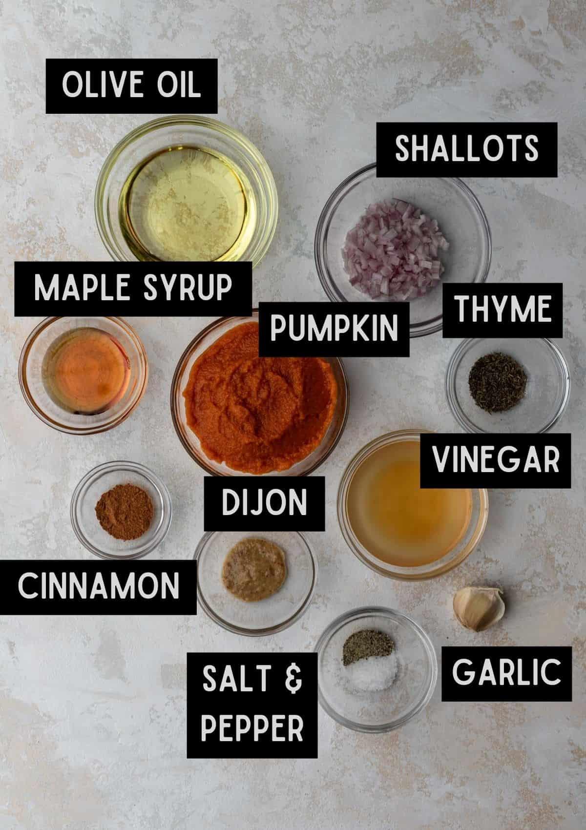 Labelled ingredients for pumpkin salad dressing (see recipe for details).