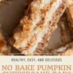 Pin graphic for healthy no bake pumpkin swirl cheesecake bars.